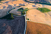 Aerial view of Pienza countryside, Val d'Orcia, Tuscany, Italy