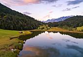 Aerial view of Geroldsee, Garmisch Partenkirchen, Bayern, Germany