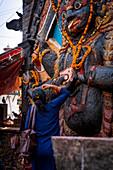 Statue and shrine of Kal Bhairav Durbar Square at Kathmandu, Nepal, Nepalese, Asia, Asian, Himalayan Country, Himalayas.