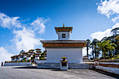 The 108 memorial chortens or stupas, Dochula Pass on the road from Thimpu to Punakha. Bhutan, Himalayan Country, Himalayas, Asia, Asian.