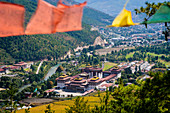 Elevated View of Tashichho Dzong a Buddhist monastery and fortress on the northern edge of the city of Thimphu, Bhutan, Himalayan Country, Himalayas, Asia, Asian.
