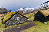 Iconic houses with grass roof, Saksun, Streymoy island, Faroe Islands, Denmark
