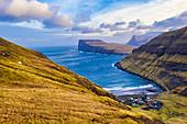 Aerial panoramic of the coastal village of Tjornuvik, Streymoy island, Faroe Islands, Denmark