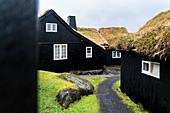 Iconic wood houses with turf roof, Torshavn, Streymoy island, Faroe Islands, Denmark