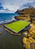 Soccer field, Eidi, Eysturoy island, Faroe Islands, Denmark