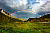 Rainbow on the Albigna valley, Engadin, Canton Grisons, Switzerland, Europe