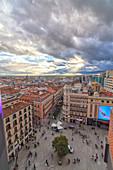 Elevated view of Plaza del Callao (Callao Square) at sunset, Madrid, Spain