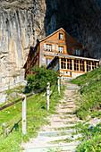 Walkway to Aescher-Wildkirchli Gasthaus, Ebenalp, Appenzell Innerrhoden, Switzerland