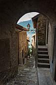 Alley in the medieval village of Corenno Plinio, Dervio, Lake Como, Lecco province, Lombardy, Italy