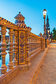 Details of decorated ceramic pillars of balustrade in typical Art Deco style, Plaza de Espana, Seville, Andalusia, Spain