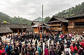 Dancing among the Miao people in the Langde Village, Guizhou, China