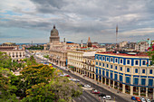 Rooftop view of the Capitol (Capitolio Nacional) and Hotel Inglaterra on Parque Central in Old Havana, Havana, Havana Province, Cuba