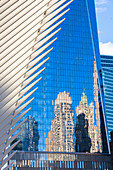 The Oculus building and Freedom Tower, One World Trade Center, Lower Manhattan, New York City, USA