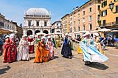 Bridesmaids in piazza loggia, Brescia province, Lombardy District, italy, Europe
