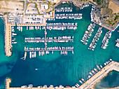 Port of Santa Maria di Leuca aerial view, Lecce district, Puglia, Italy, Europe.