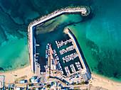 Port of Campomarino di Maruggio aerial view, Taranto province, Apulia, Salento, Italy, Europe.