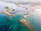 Village of Porto Cesareo aerial view, Taranto province, Apulia, Salento, Italy, Europe.