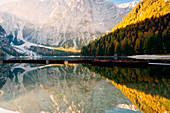 Sunrise at Braies lake in Trentino Alto Adige, Bolzano province, Italy.