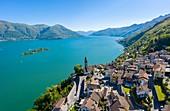 Aerial view of the town of Ronco sopra Ascona and, the Brissago Islands and Lake Maggiore. Canton Ticino, Switzerland.