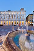 Fontana del Contarini and Palazzo Nuovo(New Palace) during dusk. Bergamo, Lombardy, Italy.