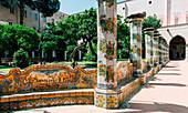 Santa Chiara Cloister and Monastery, famous attraction in Naples City Center, Campania, Italy