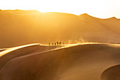 People walking on the edge of a sand dune at sunset,Walvis Bay,Namibia,Africa