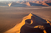 Aerial view of the Dune 45 of Sossusvlei at sunset,Namib Naukluft national park,Namibia,Africa