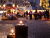 a view of the Christmas Market in Brixen into a warm sunset light, Bolzano province, South Tyrol, Trentino Alto Adige, Italy