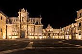 The Cathedral and Piazza del Duomo square in Lecce at night. Province of Lecce, Salento, Apulia, Italy.