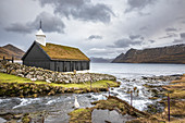 Funnings church on the village of Funningur (Eysturoy island, Faroe Islands, Denmark)