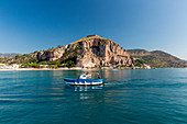 Boat in front of the temple of Jupiter Anxur Europe, Italy, Lazio, Province of Latina, Terracina