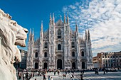 The Milan cathedral and the monuments in Duomo square. Milan, Lombardy, Italy