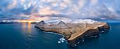 Aerial panoramic view of Eysturoy island from Gjogv (Faroe Islands, Denmark)