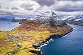 Aerial view of Vidareidi and Vidoy Island (Vidoy island, Faroe Islands, Denmark)