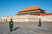 Miltary guards in front of the Hall of Supreme Harmony in the Forbidden City. Beijing, People's Republic of China.