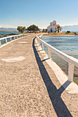 Close up of the bridge that link Elafonissos island with the orthodox church of St. Spyridon, Elafonissos, Laconia region, Peloponnese, Greece, Europe