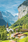 The iconic church of Lauterbrunnen,Interlaken-Oberhasli administrative district, canton of Bern,Bernese Oberland, Switzerland.