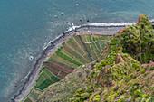 Plantations and Atlantic Ocean from Cabo Girao skywalk and viewpoint. Camara de Lobos, Madeira region, Portugal.