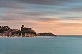 long exposure and colorful sunset at Lerici castle, municipality of Lerici, La Spezia province, Liguria district, Italy, Europe