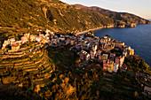 aerial view of Corniglia in winter day, municipality of Vernazza, Cinque Terre, La Spezia province, Liguria district, Italy, Europe
