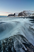 the Devil's teeth Mountain at sunset, Ersfjorden, Senja, Northern Norway, Europe.