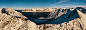 panoramic aerial view taken by drone of the Ersfjord, whit Devil's teeth mountain, Ersfjorden, Senja, Northern Norway, Europe.