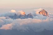 Sassolungo group from Punta Penia, Marmolada group, Dolomites, Canazei, Trento province, Trentino-Alto Adige, Italy