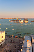 St. Mark's Square and St' Georges island seen from the top of St. Mark's Campanile, Venice, Veneto, Italy.