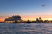Santa Maria della Salute Basilica from San Giorgio Maggiore Island with a cruise ship, Venice, Veneto, Italy