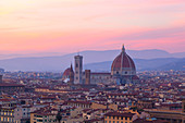 Overview of Florence Cathedral at sunset from Piazzale Michelangelo, Florence, Tuscany, Italy
