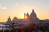 Santa Maria della Salute Basilica from Riva degli Schiavoni at sunset, Venice, Veneto, Italy