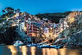 Riomaggiore at night, Cinque Terre, Liguria, Italy