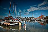 Boats in the harbor of the island Marken, North Holland, Netherlands