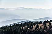 Staggered mountain ranges in the haze, at Hohneck, Col de la Gorge, Vosges, Alsace-Lorraine, France